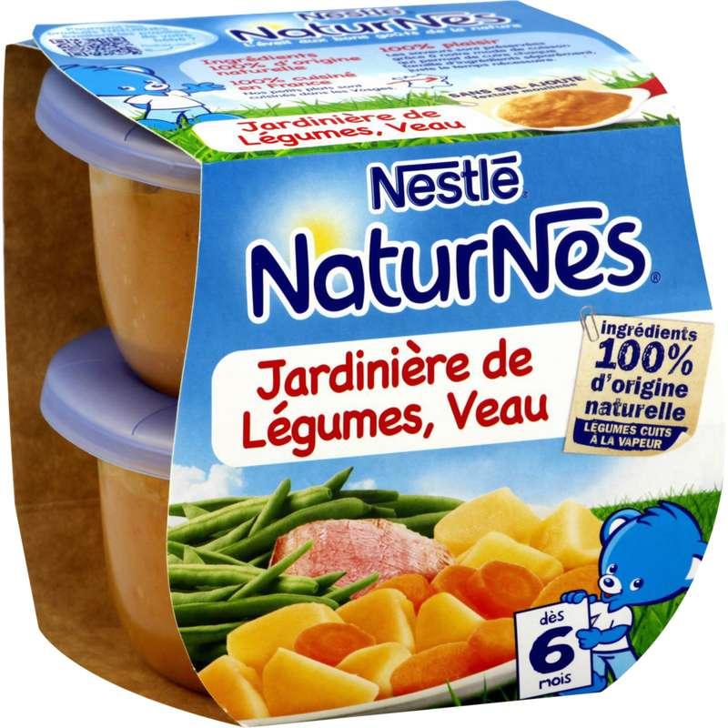 Jardinière de légumes et veau - dès 6 mois, Naturnes Nestlé (2 x 200 g)