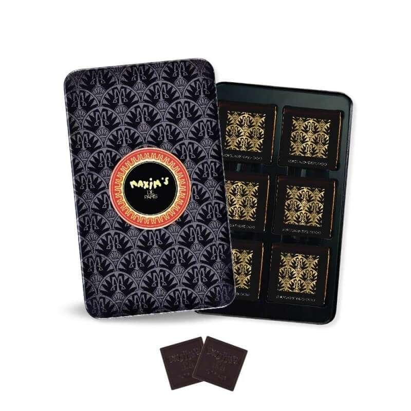 Plumier Noir - 12 carrés de chocolat noir, Maxim's (58 g)