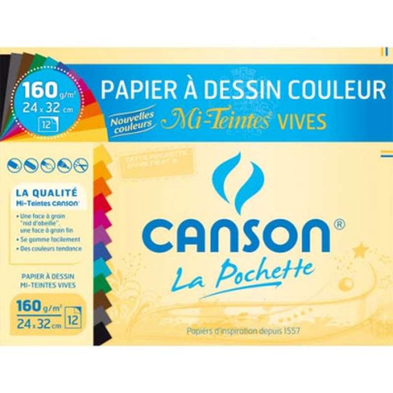 Pochette 12 feuilles à dessins couleurs vives, Canson (24 x 32 cm)