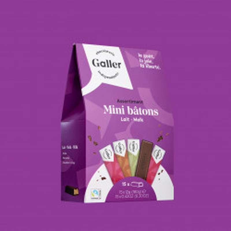 Pocketbag 15 mini-bâtons assortiment lait, Chocolat Galler (180 g)