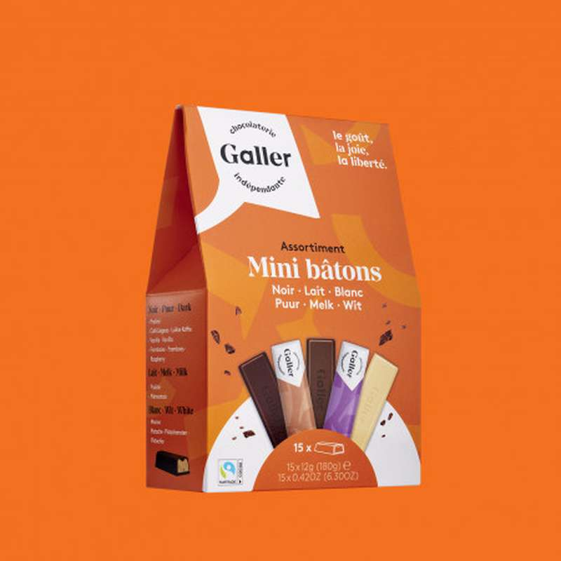 Pocketbag 15 mini-bâtons assortiment noir, blanc et lait, Chocolat Galler (180 g)