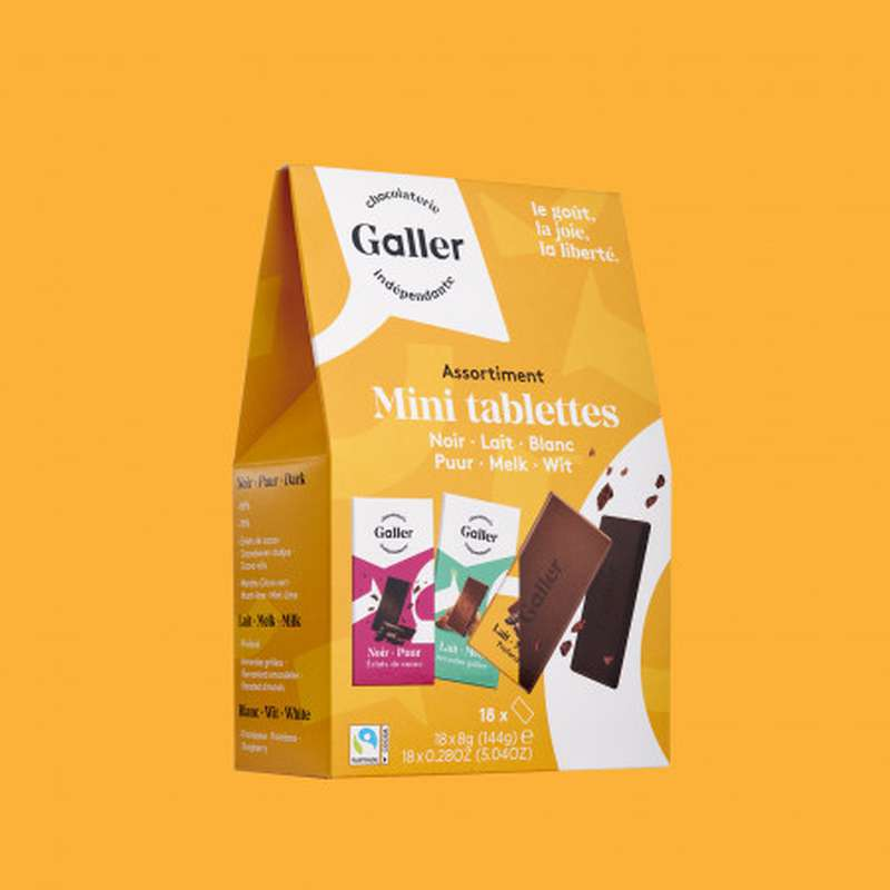 Pocketbag 18 mini-tablettes assortiment noir, blanc et lait, Chocolat Galler (144 g)