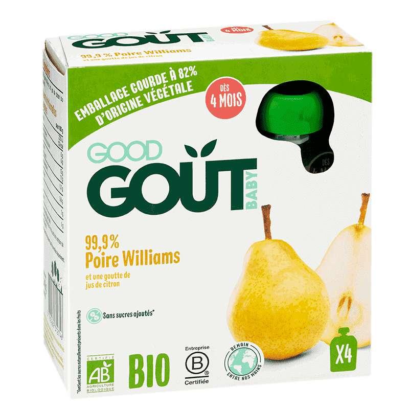 Poire Williams BIO - dès 4 mois, Good Goût (4 x 85 g)