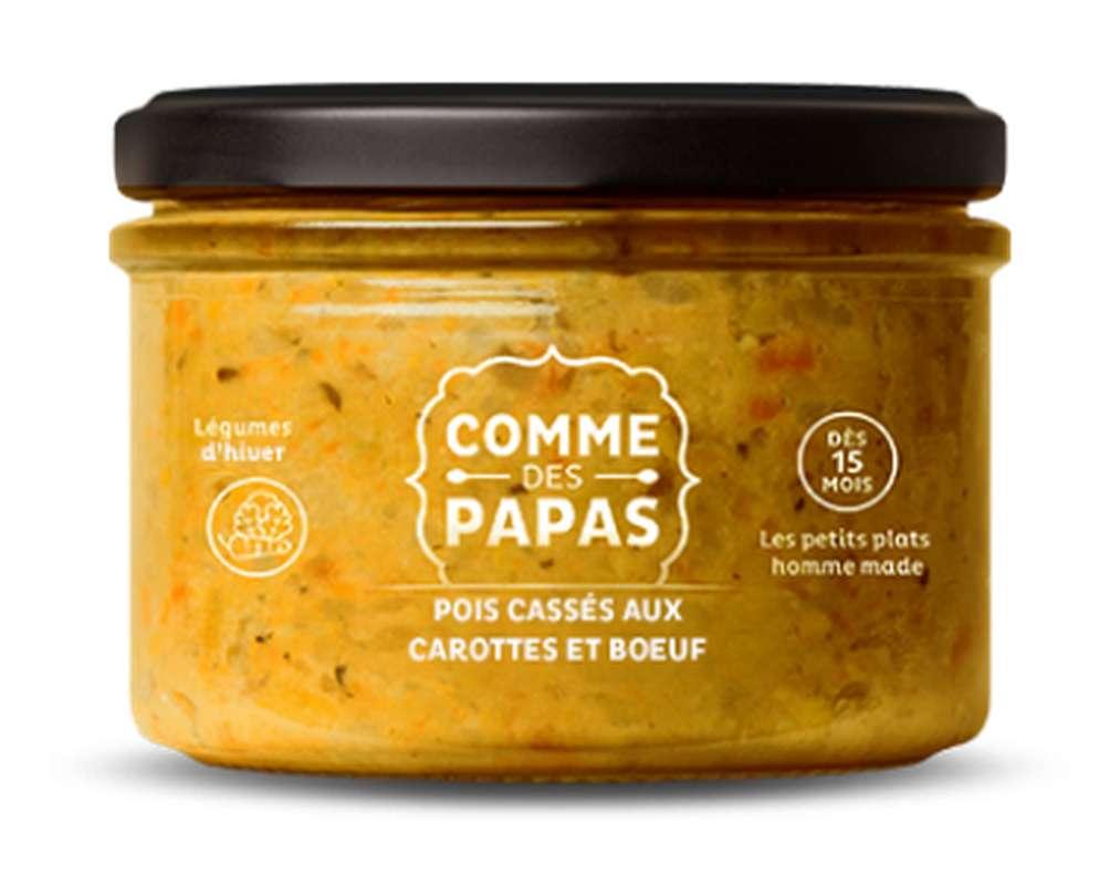 Pois cassés aux carottes et boeuf BIO -  dès 15 mois, Comme des papas (230 g)