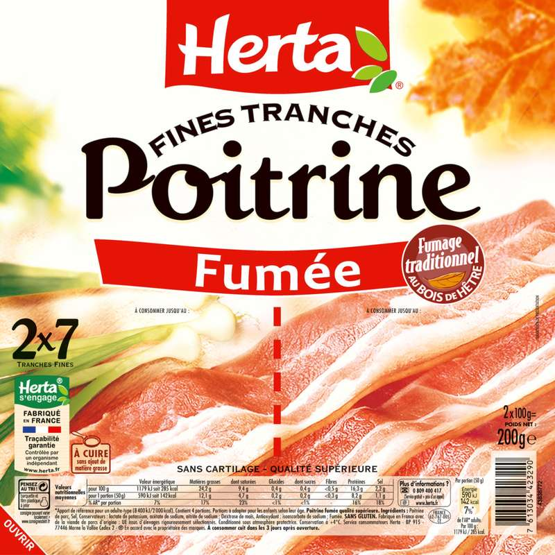 Poitrine fumée, Herta (2 x 7 tranches fines, 200 g)
