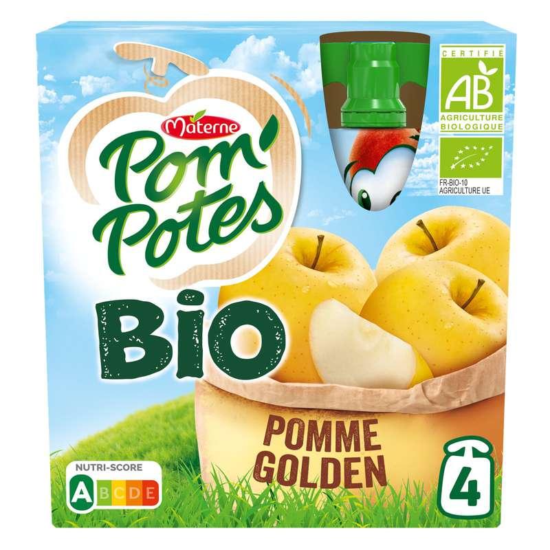 Pom'Potes sans sucres ajoutés pomme golden BIO, Materne (4 x 90 g)