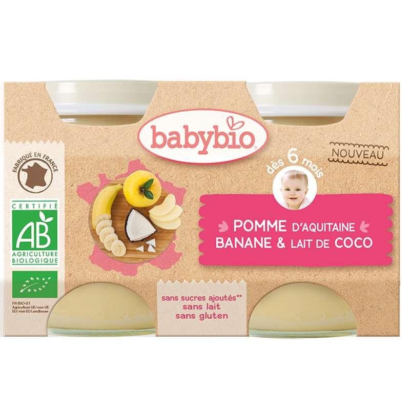 Petit pot pomme d'Aquitaine, banane, lait de coco BIO - dès 6 mois, Babybio (2 x 130 g)