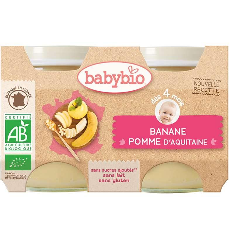 Petit pot pomme d'Aquitaine, banane BIO - dès 4 mois, Babybio (2 x 130 g)