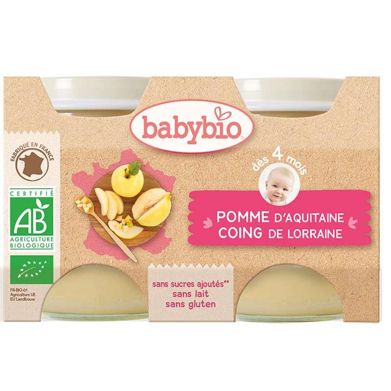 Petit pot pomme d'Aquitaine, coing BIO - dès 4 mois, Babybio (2 x 130 g)