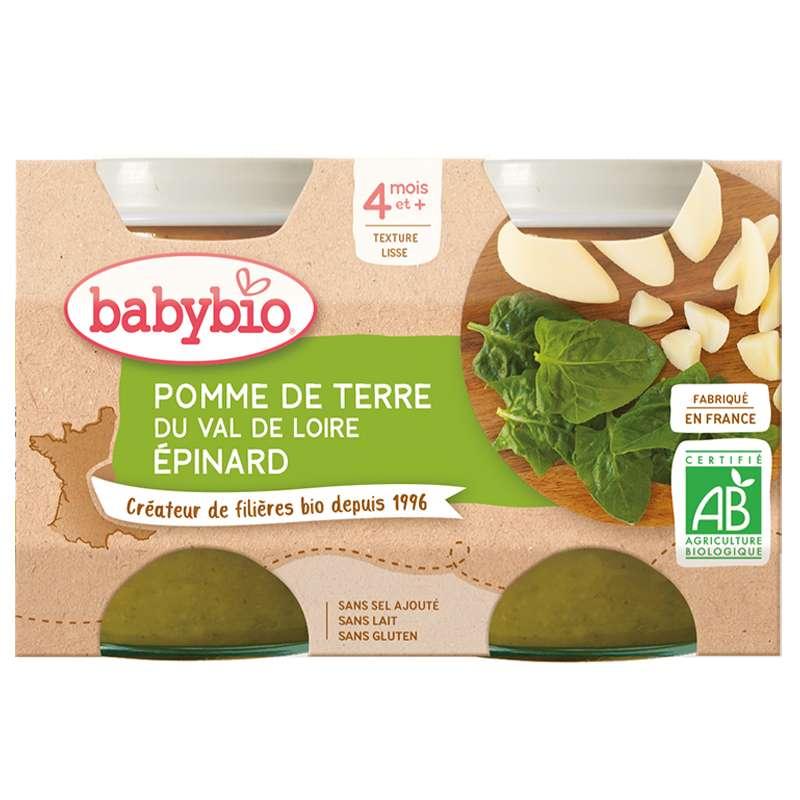 Petit pot pomme de terre du Val de Loire, épinard BIO - dès 4 mois, Babybio (2 x 130 g)