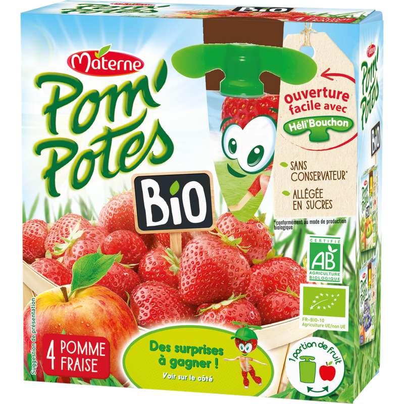 Pom'Potes 30% de sucre en moins pomme/fraise  BIO, Materne (4 x 90 g)