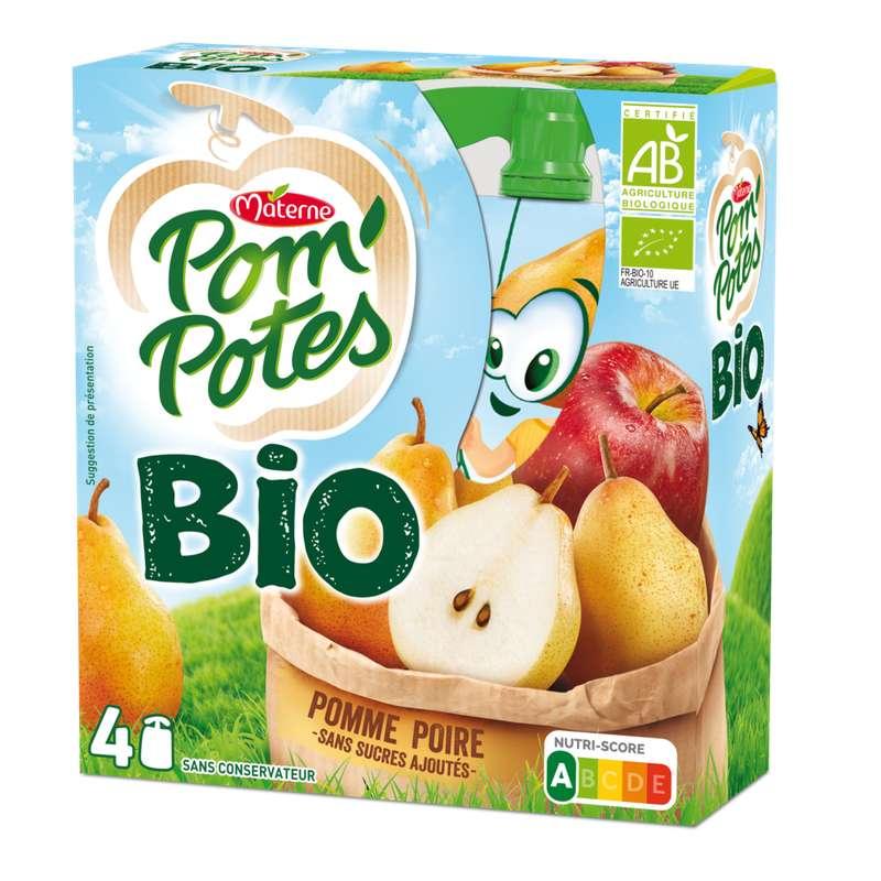 Pom'Potes pomme et poire sans sucres ajoutés BIO, Materne (4 x 90 g)