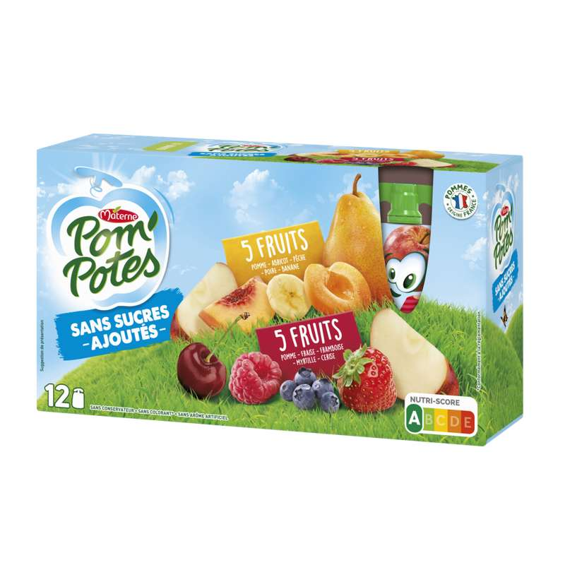 Pom'Potes sans sucres ajoutés 5 fruits rouges/5 fruits jaunes, Materne (12 x 90 g)