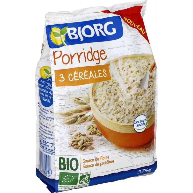 Porridge aux 3 céréales BIO, Bjorg (375 g)