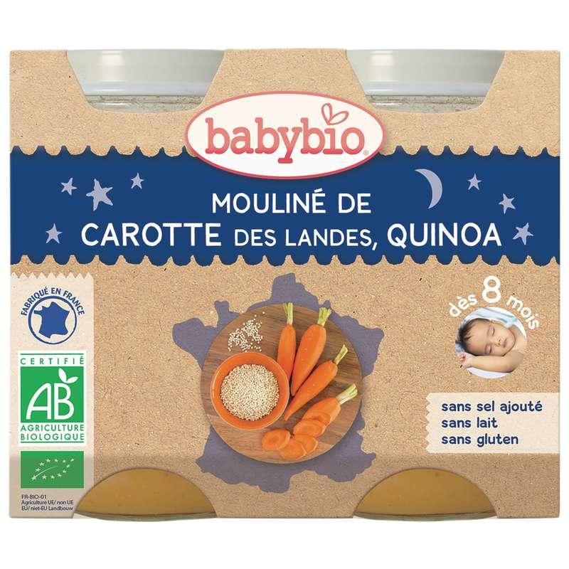 Petit pot bonne nuit carotte des Landes, quinoa BIO - dès 8 mois, Babybio (2 x 200 g)