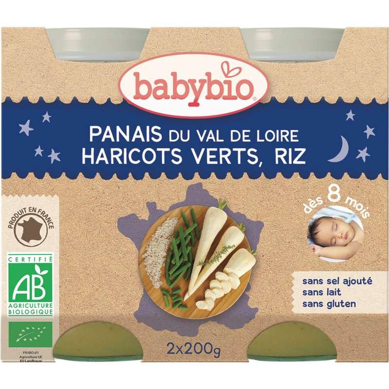 Petit pot bonne nuit panais, haricots verts, riz BIO - dès 8 mois, Babybio (2 x 200 g)