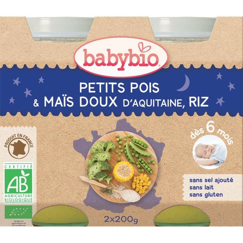 Petit pot bonne nuit petit pois, maïs, riz BIO - dès 6 mois, Babybio (2 x 200 g)