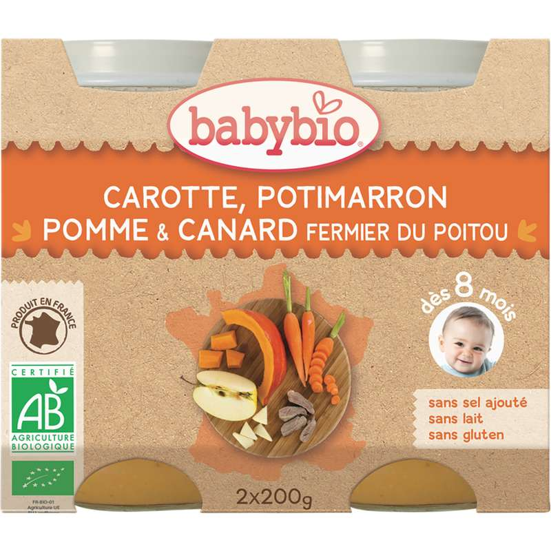 Petit pot carotte, potimarron, pomme, canard fermier BIO - dès 8 mois, Babybio (2 x 200 g)