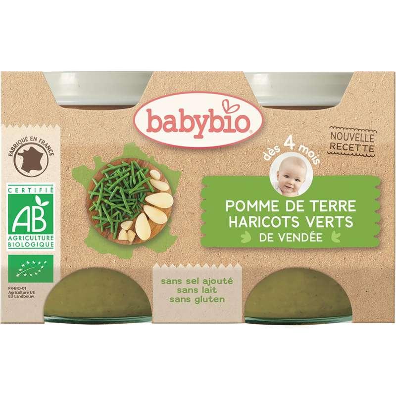 Petit pot pomme de terre haricots verts de Vendée BIO - dès  4 mois, Babybio (2 x 130 g)