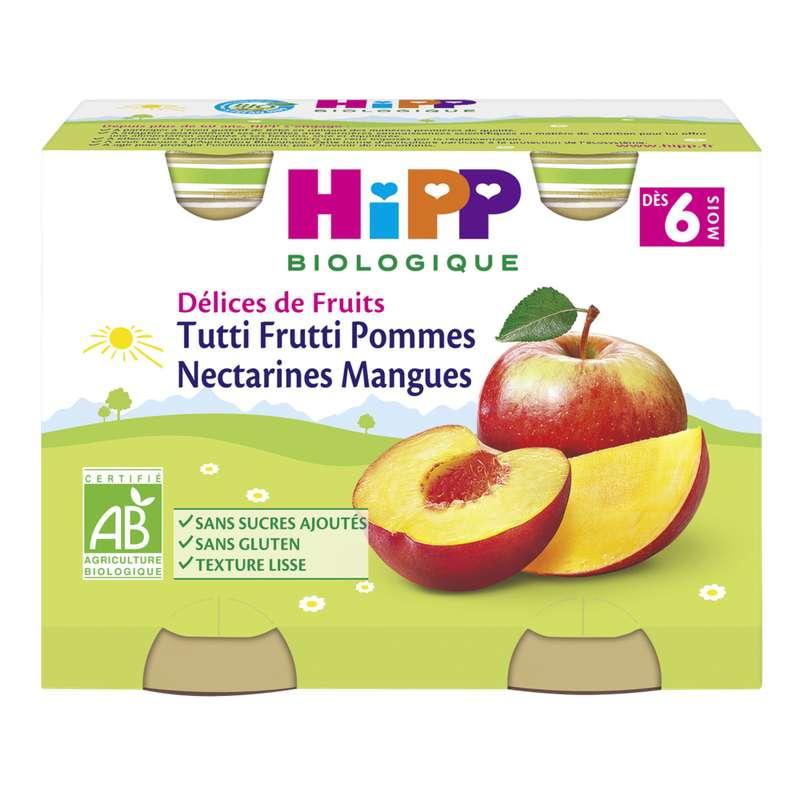 Délices de fruits tutti frutti pommes nectarines mangues BIO - dès 6 mois, Hipp (2 x 190 g)