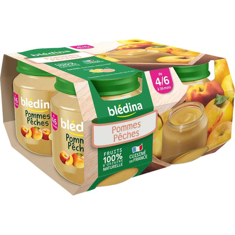 Petit pot pommes, pêches - dès 4/6 mois, Blédina (4 x 130 g)