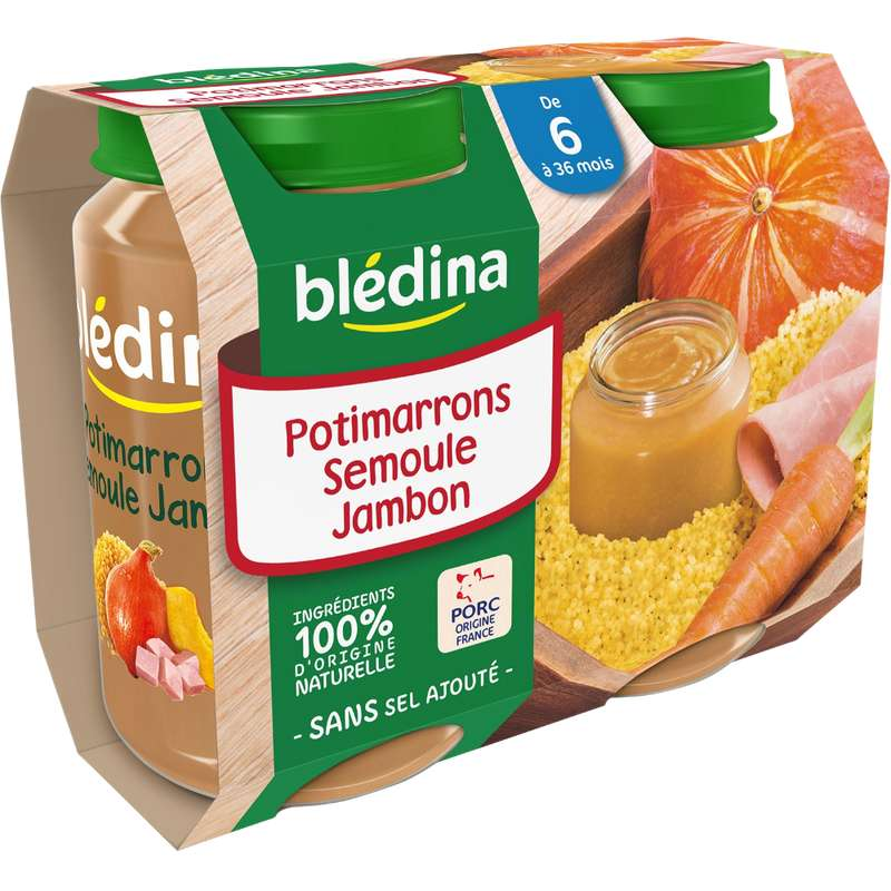 Petit pot potimarrons, semoule, jambon - dès 6 mois, Blédina (2 x 200 g)