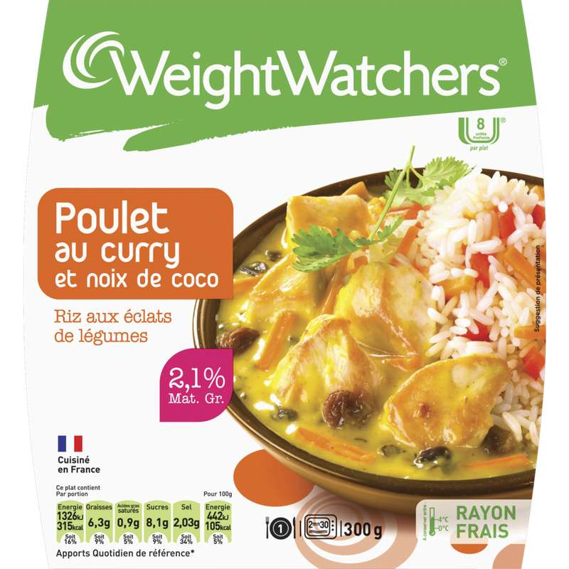 Poulet curry coco riz, Weight Watchers (300 g)