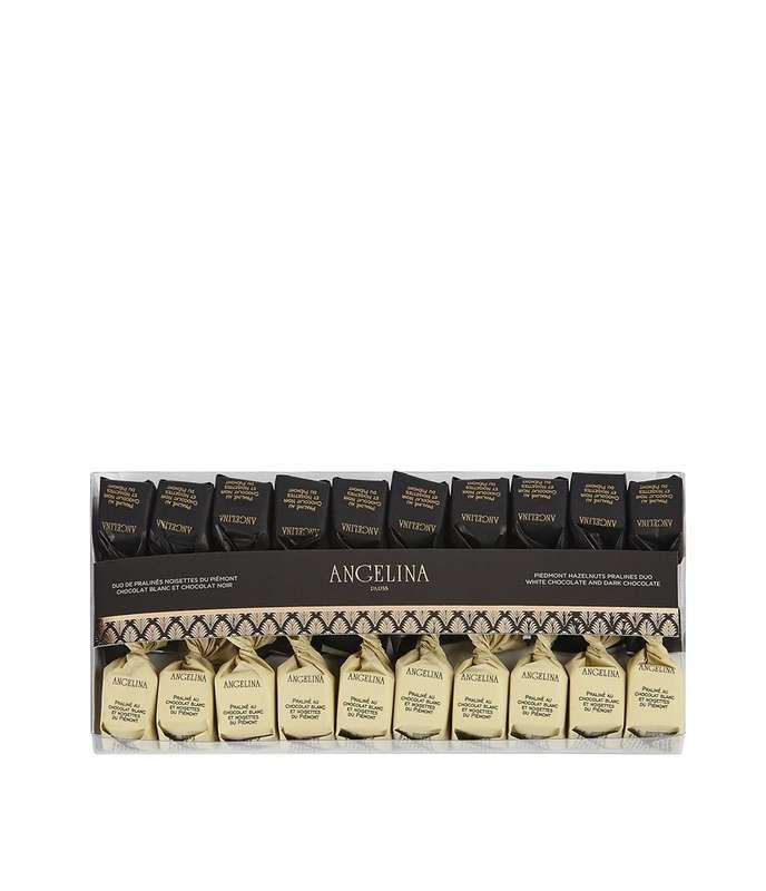 Pralinés au chocolat blanc et noir à la noisette du Piémont, Angelina (140 g)