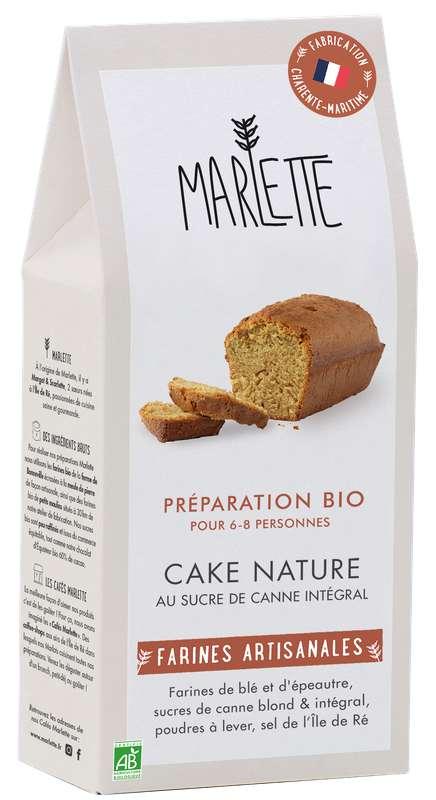 """Préparation """"Cake nature au sucre de canne intégral"""" Bio, Marlette (315 g)"""