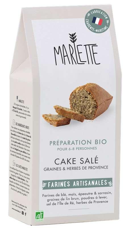 """Préparation """"Cake salé  aux graines et herbes de Provence"""" Bio, Marlette (280 g)"""