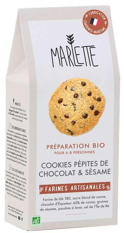 """Préparation """"Cookies pépites de chocolat noir & sésame"""" Bio, Marlette (320 g)"""