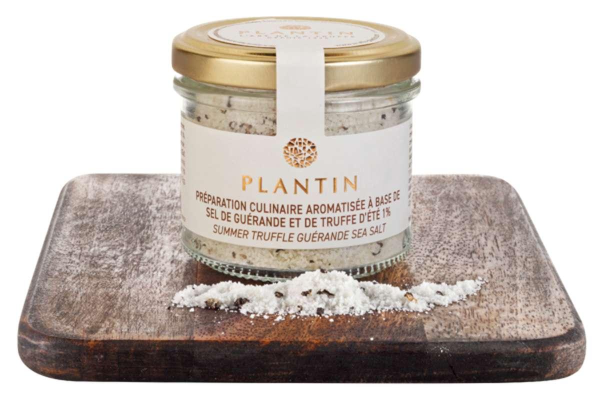 Préparation culinaire aromatisée à base de sel de Guérande et de truffe d'été 1%, Plantin (100 g)