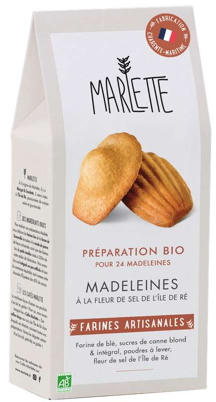 """Préparation """"Madeleines à la fleur de sel de l'île de Ré"""" BIO, Marlette (300 g)"""