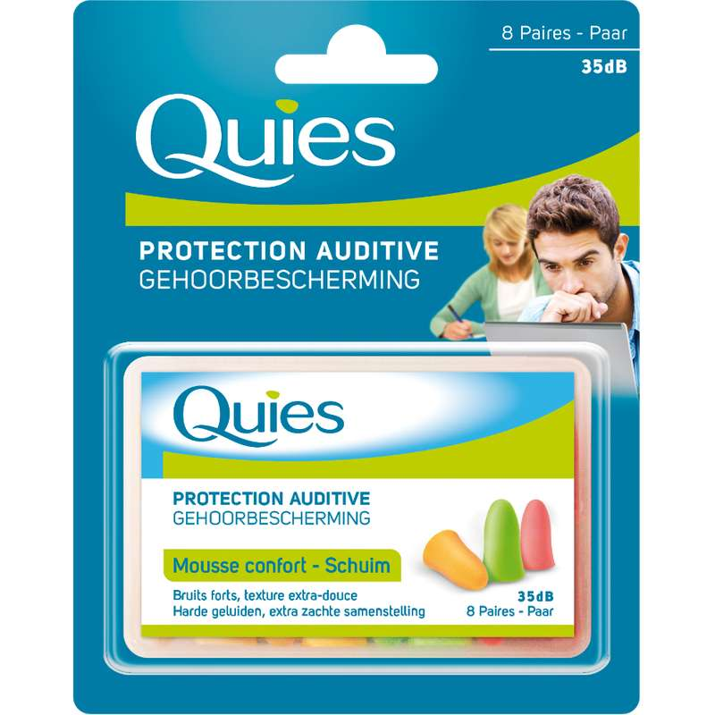 Protections auditives en mousse fluo, Quies (x 8 paires)