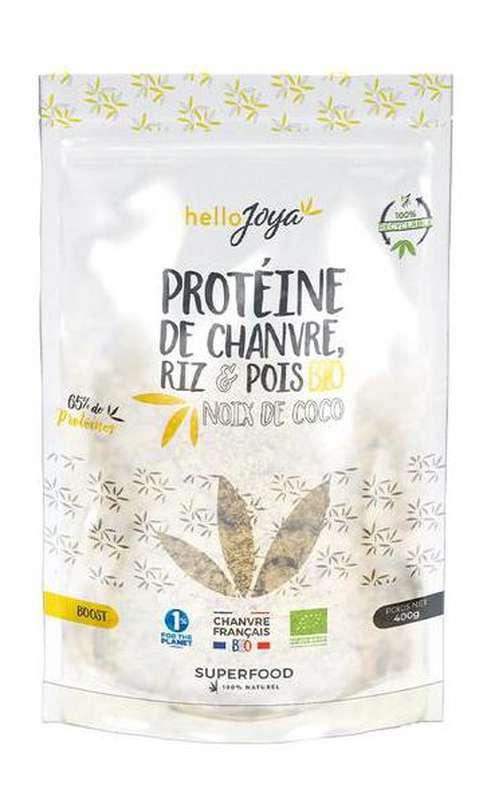 Protéine de chanvre, riz et pois à la Noix de Coco BIO, Hello Joya (400 g)