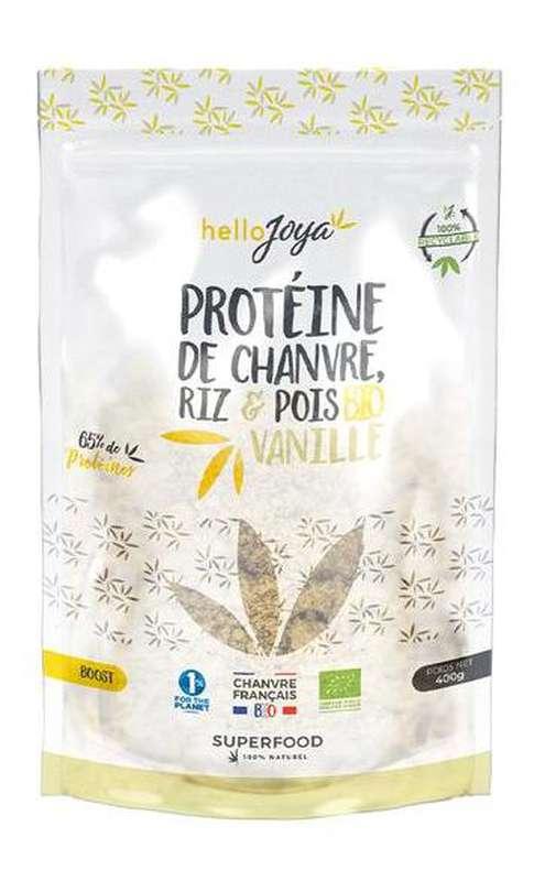 Protéine de chanvre, riz et pois à la vanille BIO, Hello Joya (400 g)