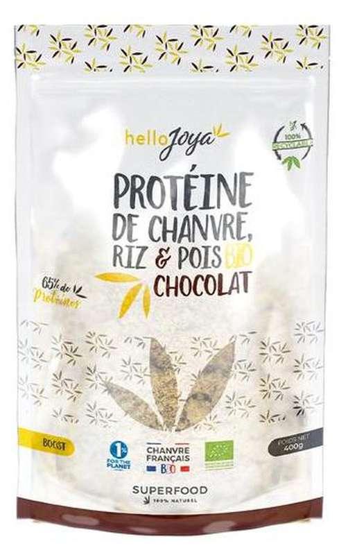 Protéine de chanvre, riz et pois au chocolat BIO, Hello Joya (400 g)