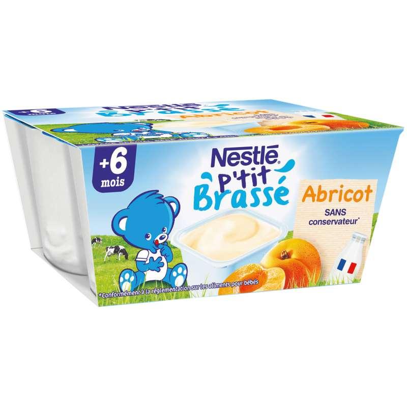 P'tit brassé lactées à l'abricot - dès 6 mois, Nestlé (4 x 100 g)