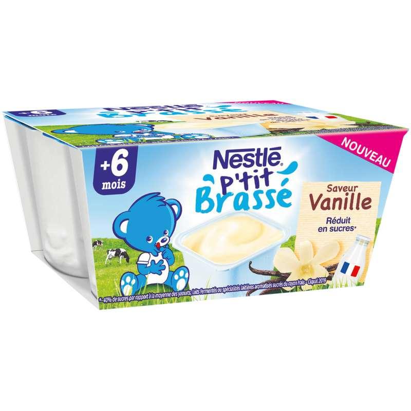 P'tit brassé crème dessert vanille - dès 6 mois, Nestlé (4 x 100 g)