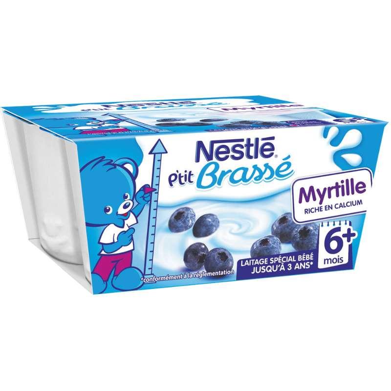 P'tit brassé myrtille lactées - dès 6 mois, Nestlé (4 x 100 g)