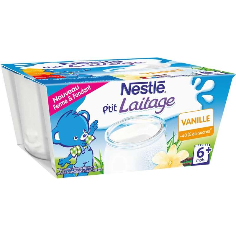 P'tit laitage à la vanille - dès 6 mois, Nestlé (4 x 100 g)