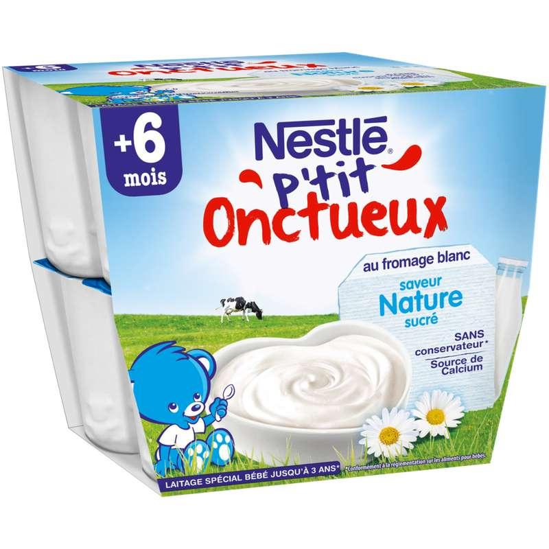 P'tit onctueux au fromage blanc nature - dès 6 mois, Nestlé (8 x 100 g-