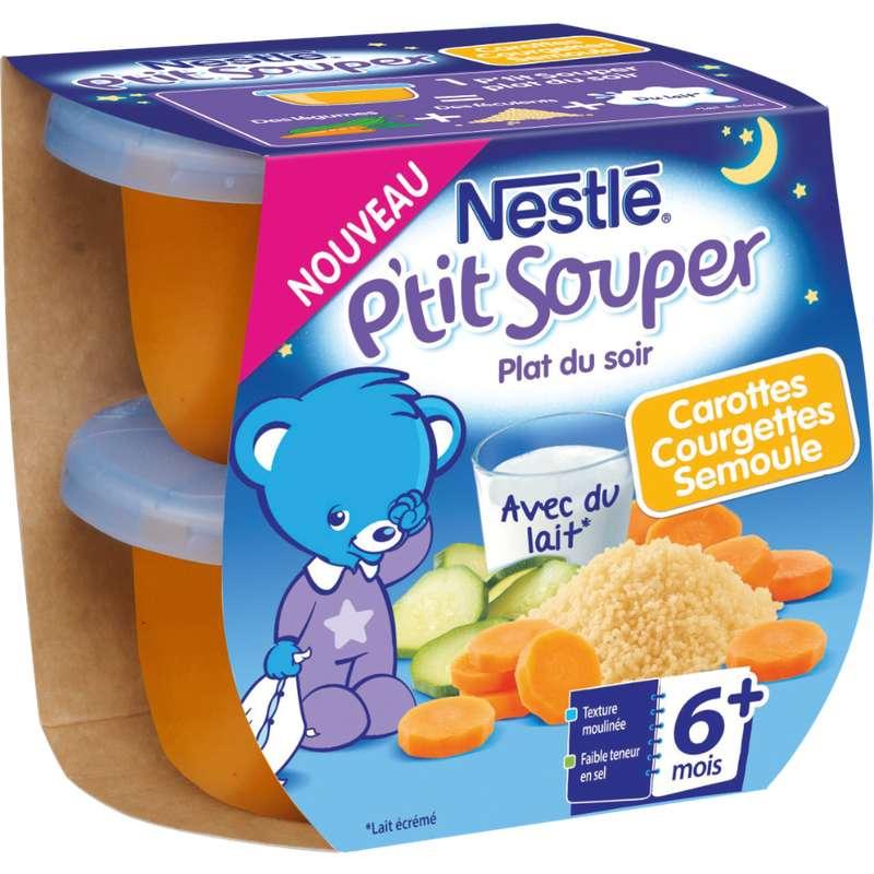P'tit Souper carottes courgettes et semoule - dès 6 mois, Nestlé (2 x 200 g)