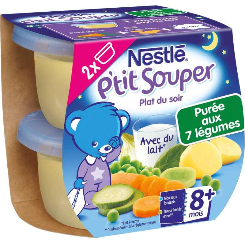 P'tit souper purée du soir 7 légumes - dès 8 mois, Nestlé (2 x 200 g)