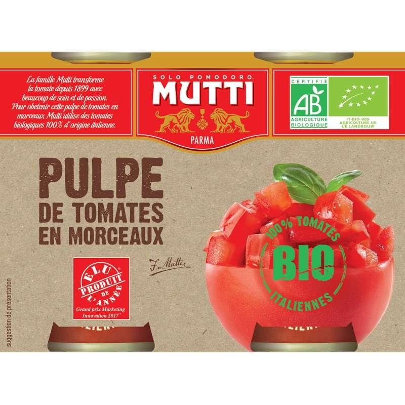 Pulpe de tomate en morceaux BIO, Mutti (2 x 400 g)