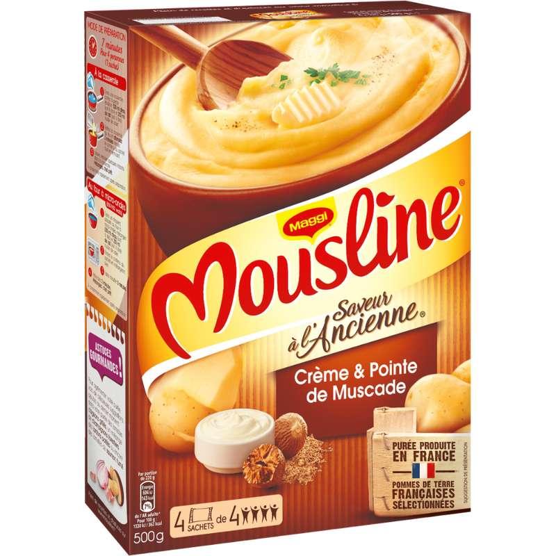Purée à l'ancienne crème et pointe de noix de muscade Mousline, Maggi (x 4 sachets, 500 g)