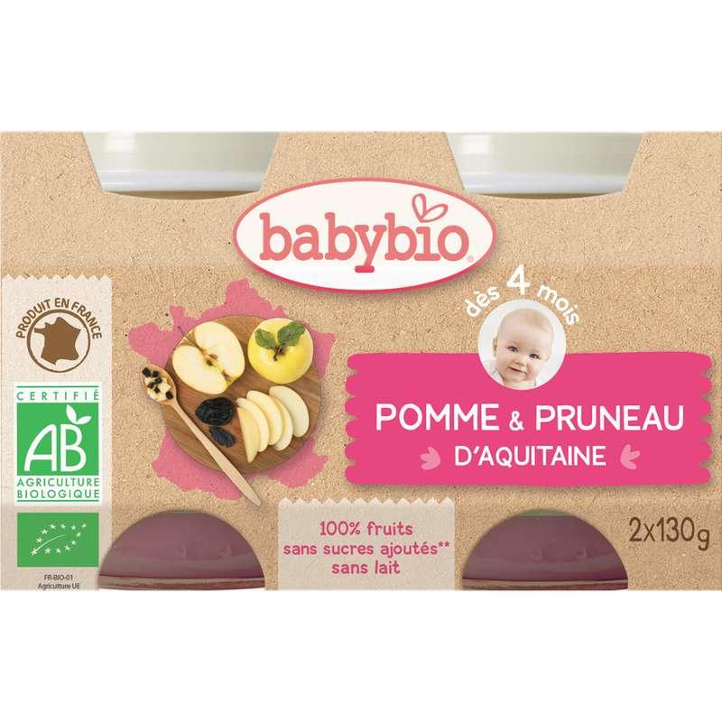 Petit pot pomme, pruneau d'Aquitaine BIO - dès 4 mois, Babybio (2 x 130 g)