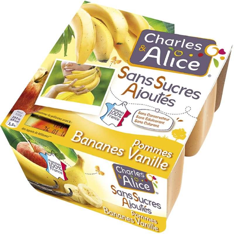 Compote pommes, bananes et vanille, Charles & Alice (4 x 100 g)