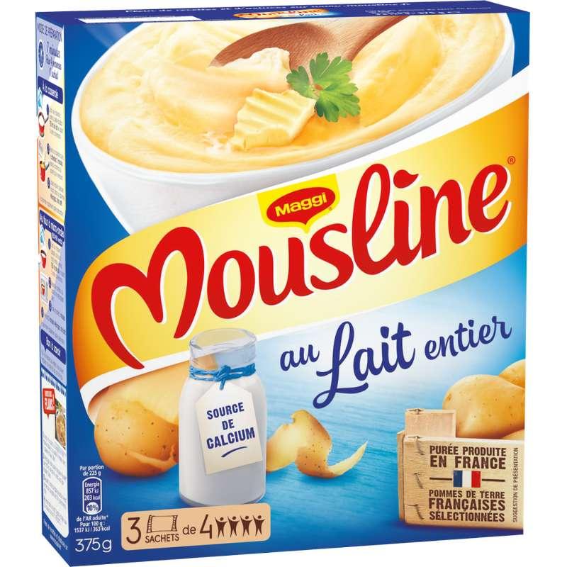 Purée au lait entier Mousline, Maggi (x 3 sachets, 375 g)