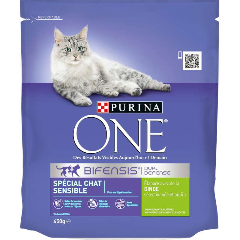 Croquettes pour chat adulte sensible à la dinde et au riz, Purina One (450 g)